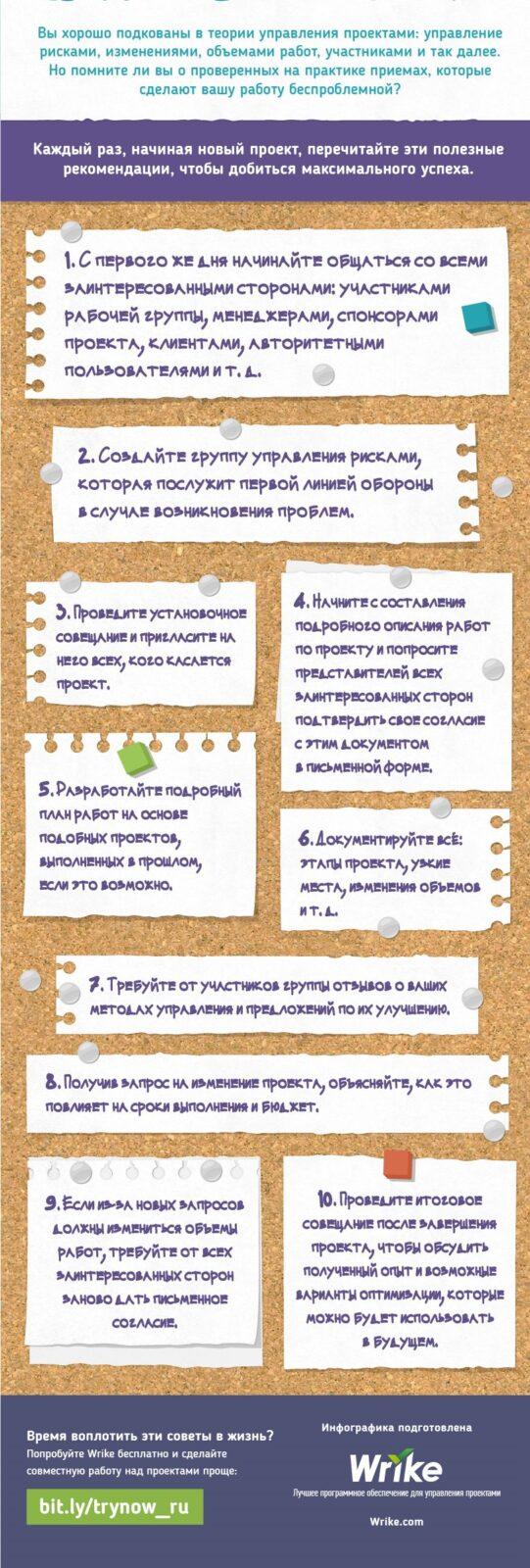 Памятка: Десять практических рекомендаций по управлению проектами